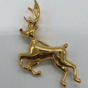 Monet Rudolph Reindeer Vintage Pin Brooch Gold